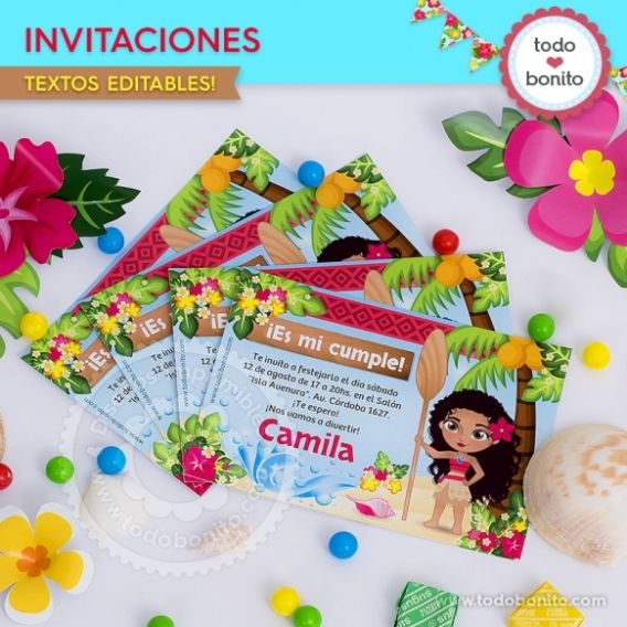 Invitaciones Kit imprimible Moana Todo Bonito