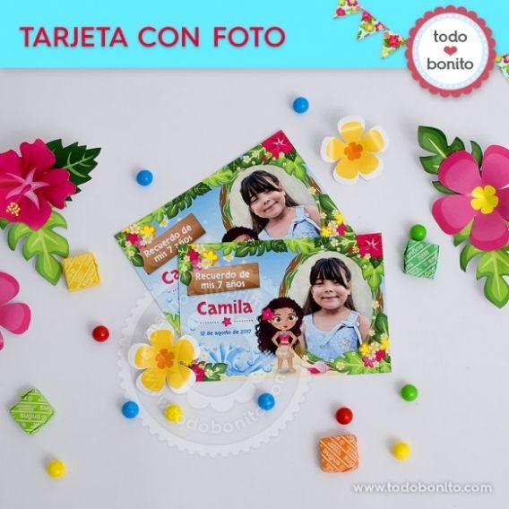 Tarjeta con foto Caja Kit imprimible Moana Todo Bonito