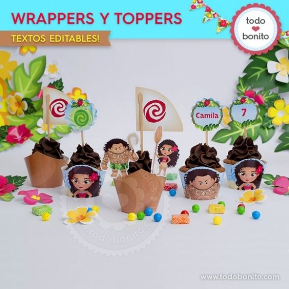 Wrappers y Toppers Kit imprimible Moana Todo Bonito