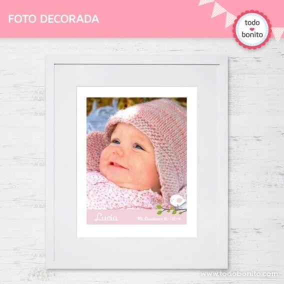 Foto decorada Kit Imprimible Pajarito Rosa Todo Bonito