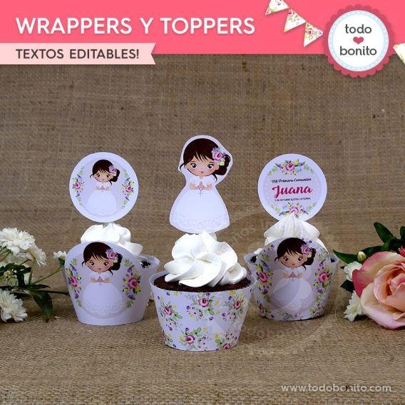 Wrappers y Toppers imprimibles Kit Juana por Todo Bonito