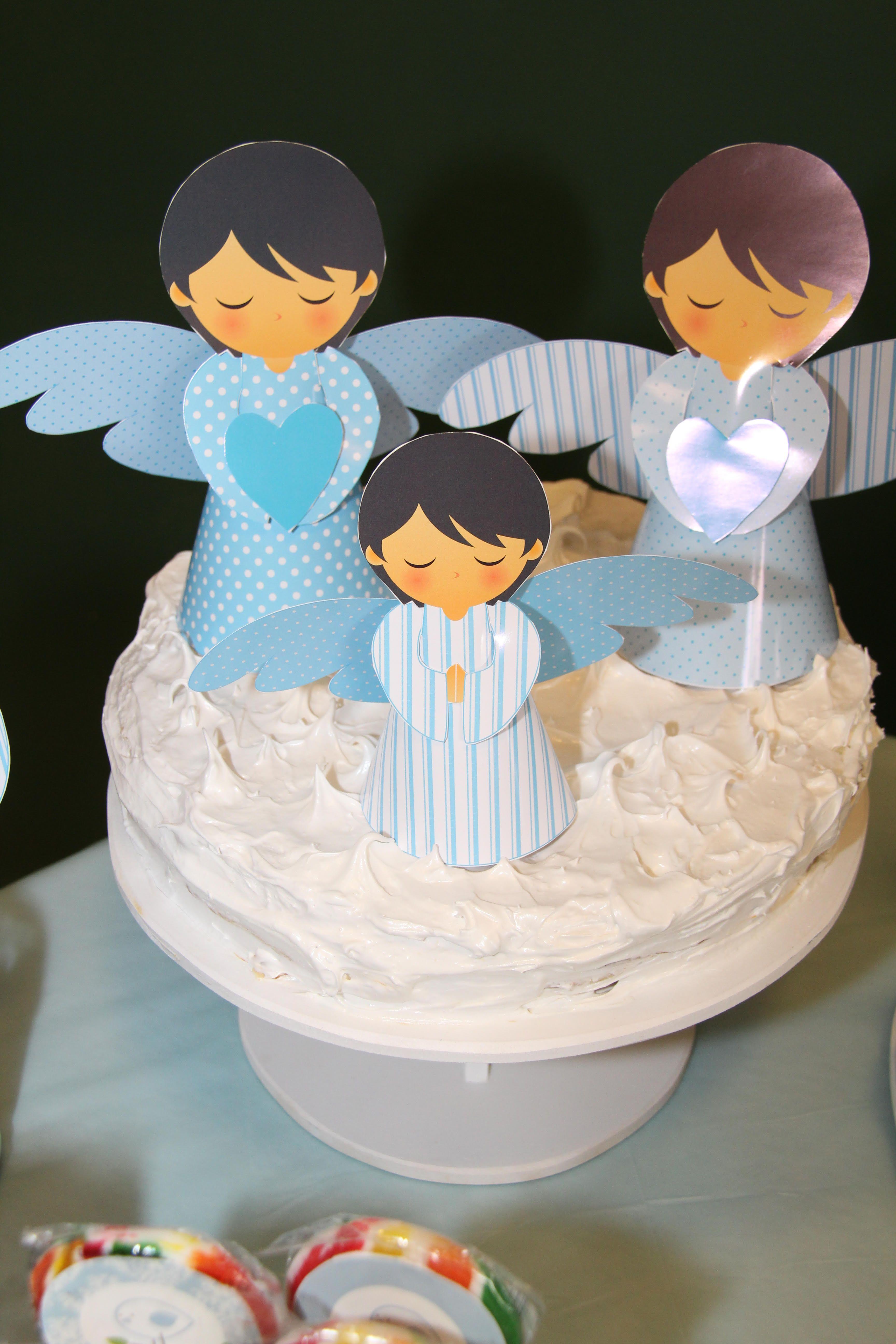 Torta con Angelitos 3D Alitas Celeste de Todo Bonito