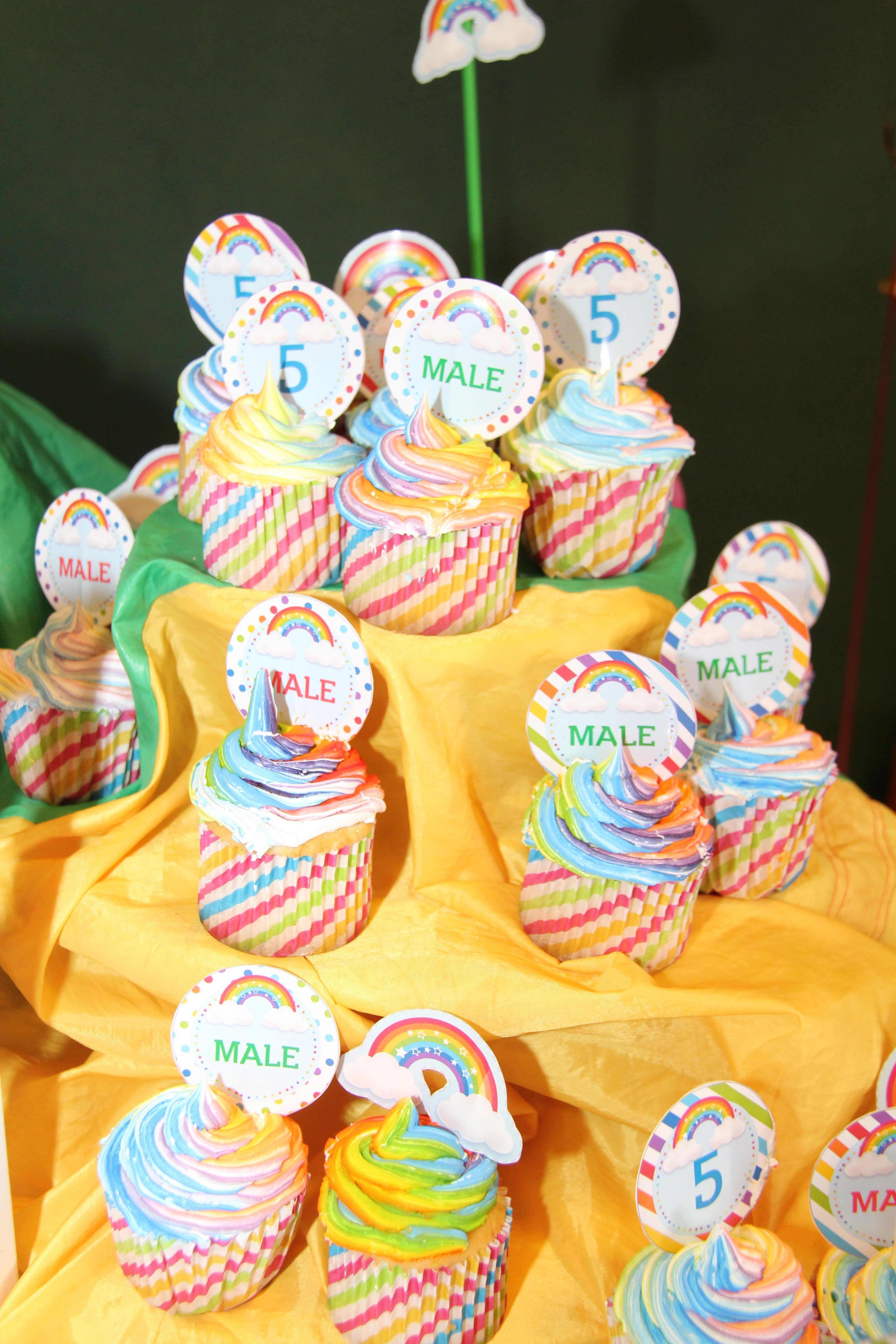Cupcakes y Toppers Kit Arco Iris Todo Bonito