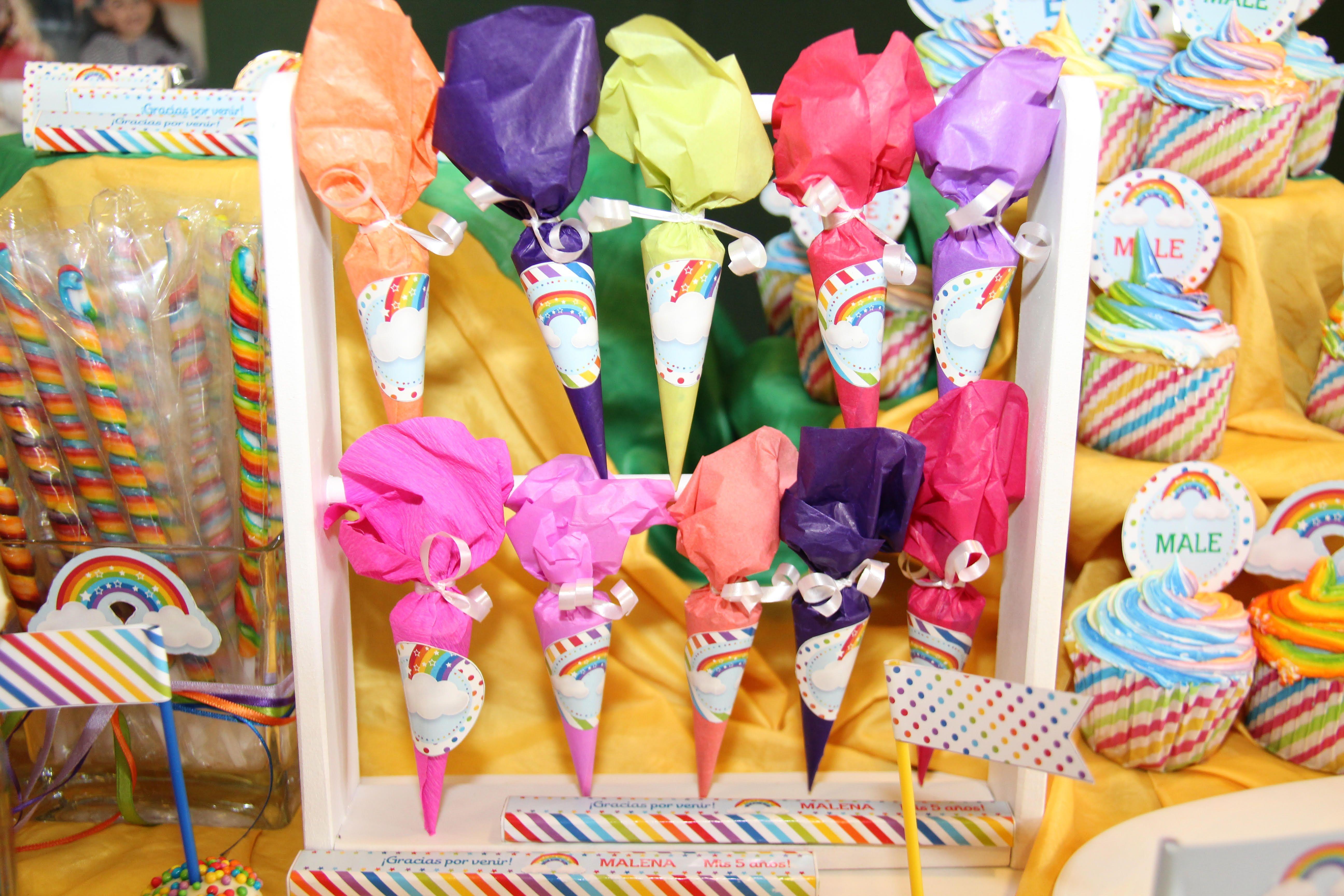 Paraguitas decorados Kit Imprimible Arco Iris