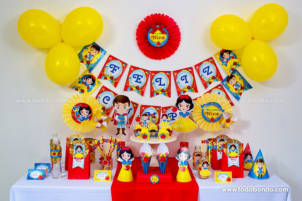 Decoraciones imprimibles Kit Blancanieves Todo Bonito