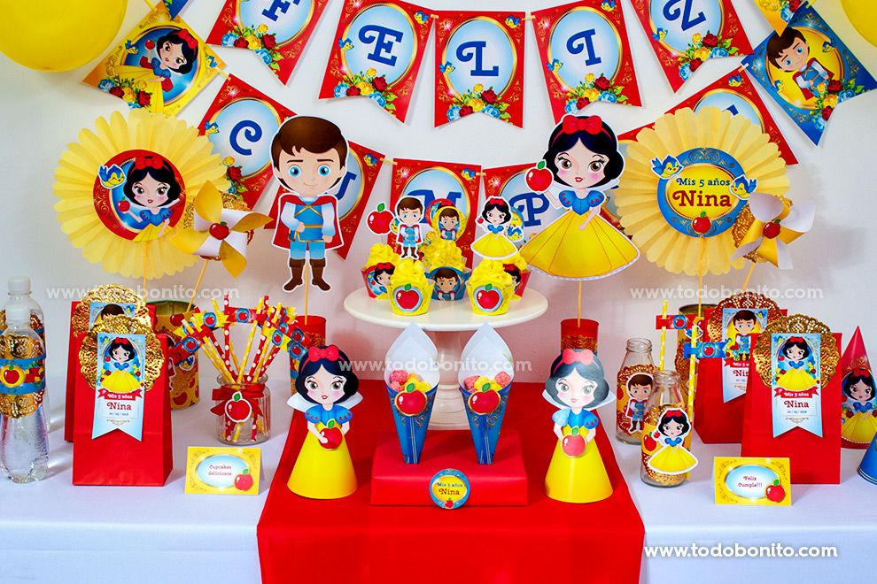 Mesa decorada con imprimibles Kit Blancanieves Todo Bonito