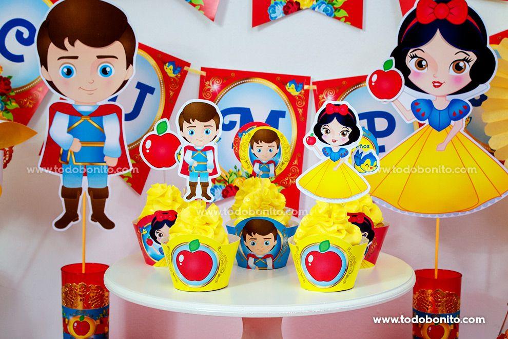 Cupcakes y deco con imprimibles Kit Blancanieves Todo Bonito