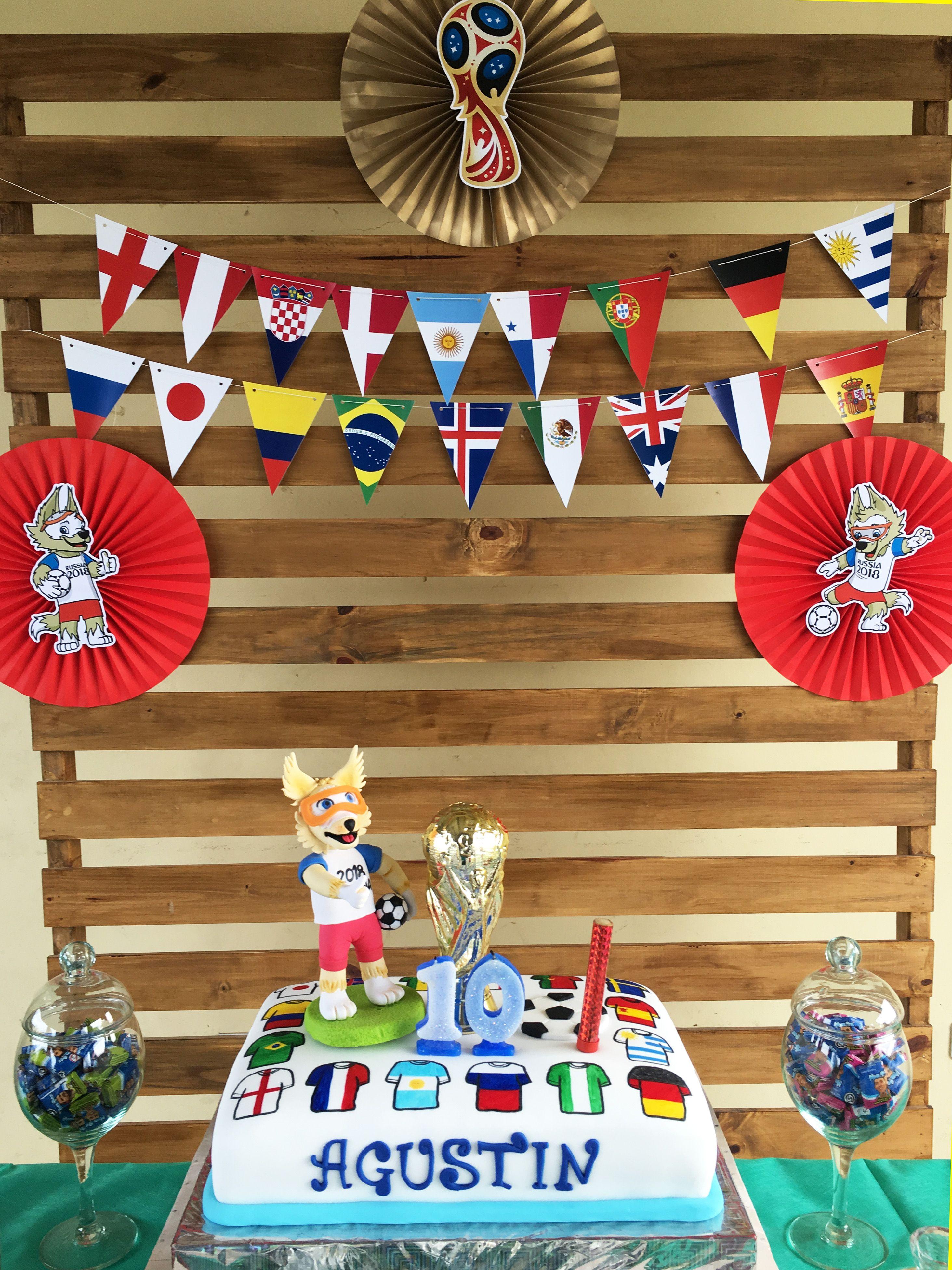 Torta y decoración cumple Agustin del Mundial Rusia 2018 Todo Bonito
