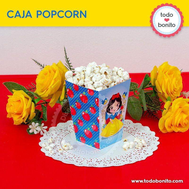 Caja Popcorn imprimible de Blancanieves por Todo Bonito