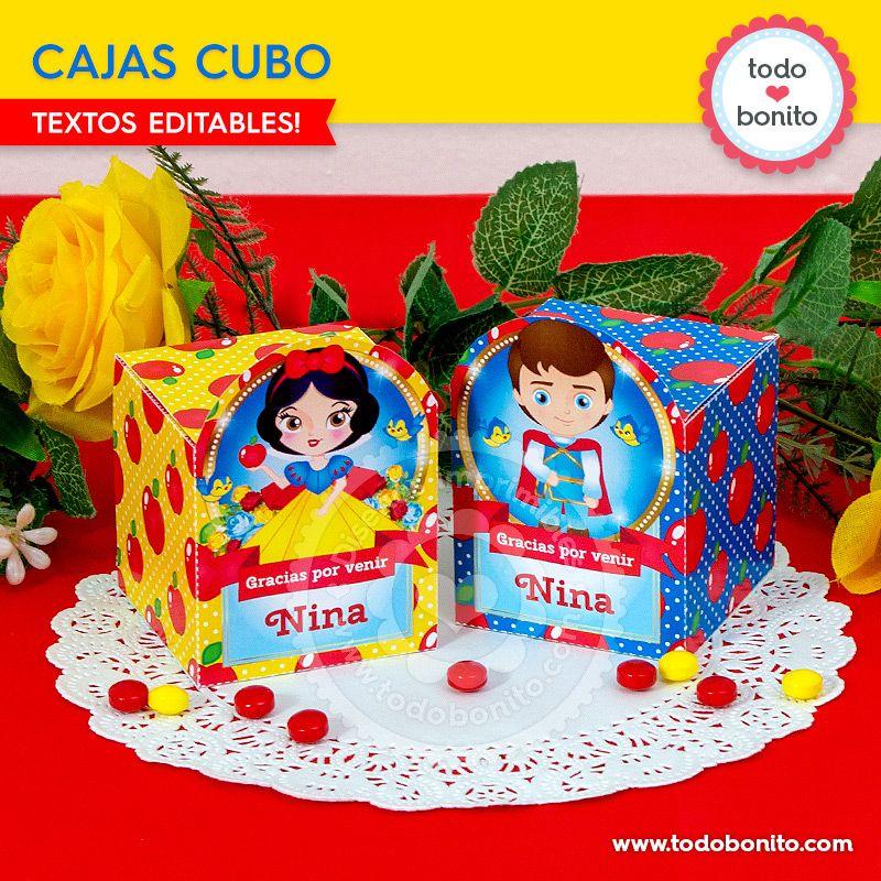 Cajas Cubo imprimible de Blancanieves por Todo Bonito