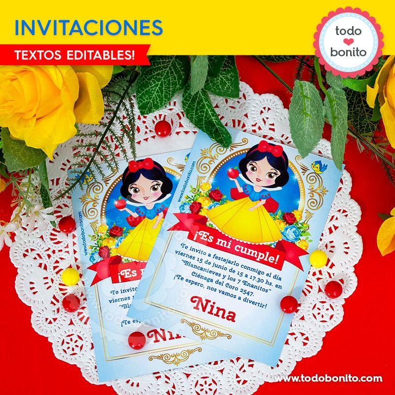 Invitaciones imprimibles de Blancanieves por Todo Bonito