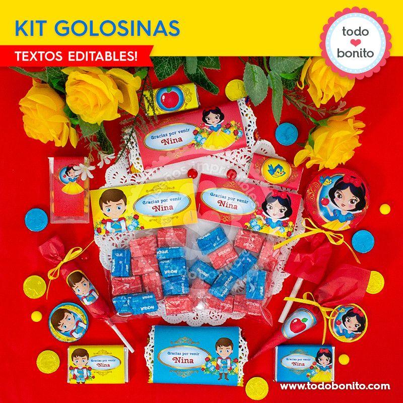 Kit de Golosinas imprimibles de Blancanieves por Todo Bonito