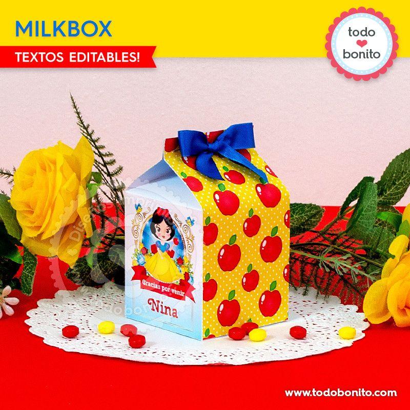 Cajitas MilkBox imprimibles de Blancanieves por Todo Bonito