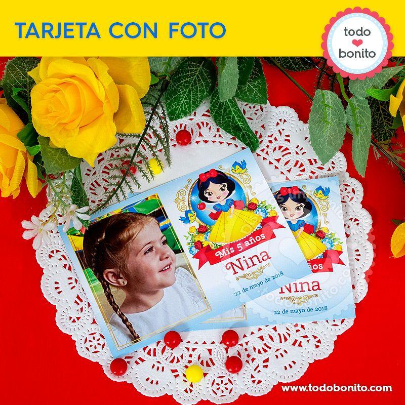 Tarjetas con foto imprimibles de Blancanieves por Todo Bonito