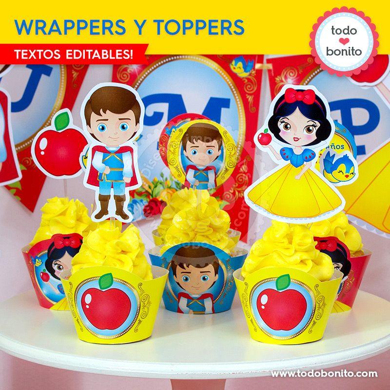 Wrappers y Toppers imprimibles de Blancanieves por Todo Bonito