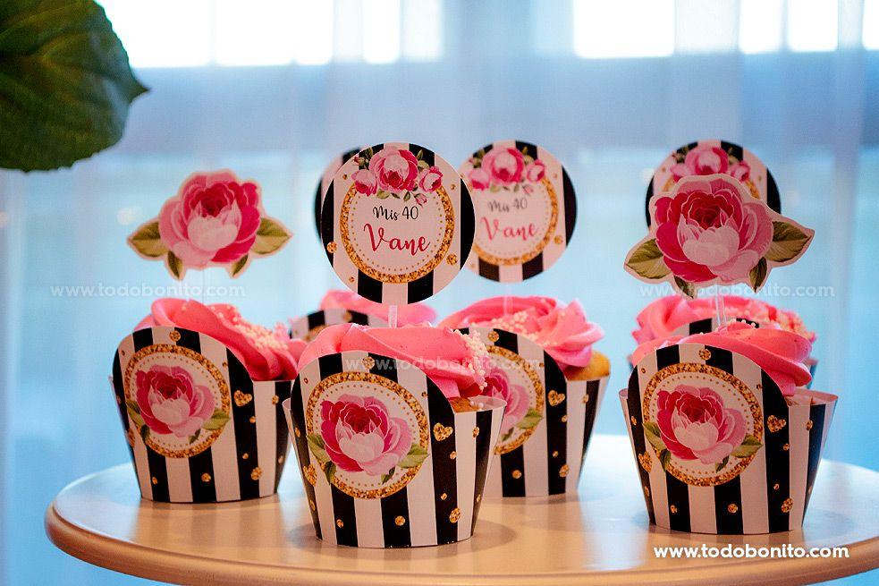 Ideas cupcakes para cumpleaños 40
