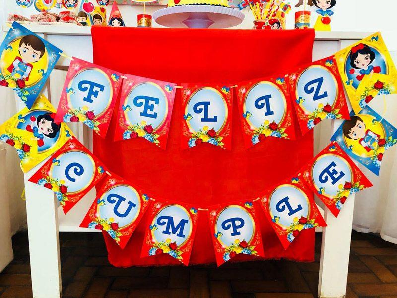 Banderines Cumpleaños Kit Blanca Nieves Todo Bonito