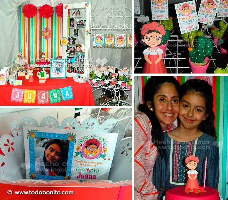 Decoración de cumple con tema Frida Kahlo