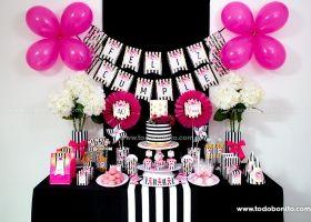Diseños de fiesta con rayas y flores fucsia para imprimir