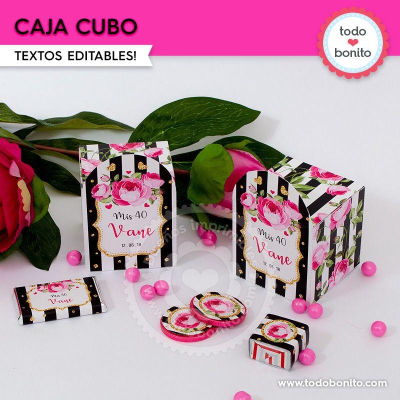 Cajitas cubo para imprimir con rayas y flores