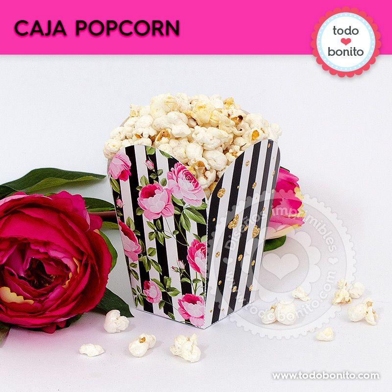 Caja Popcorn para imprimir con rayas y flores