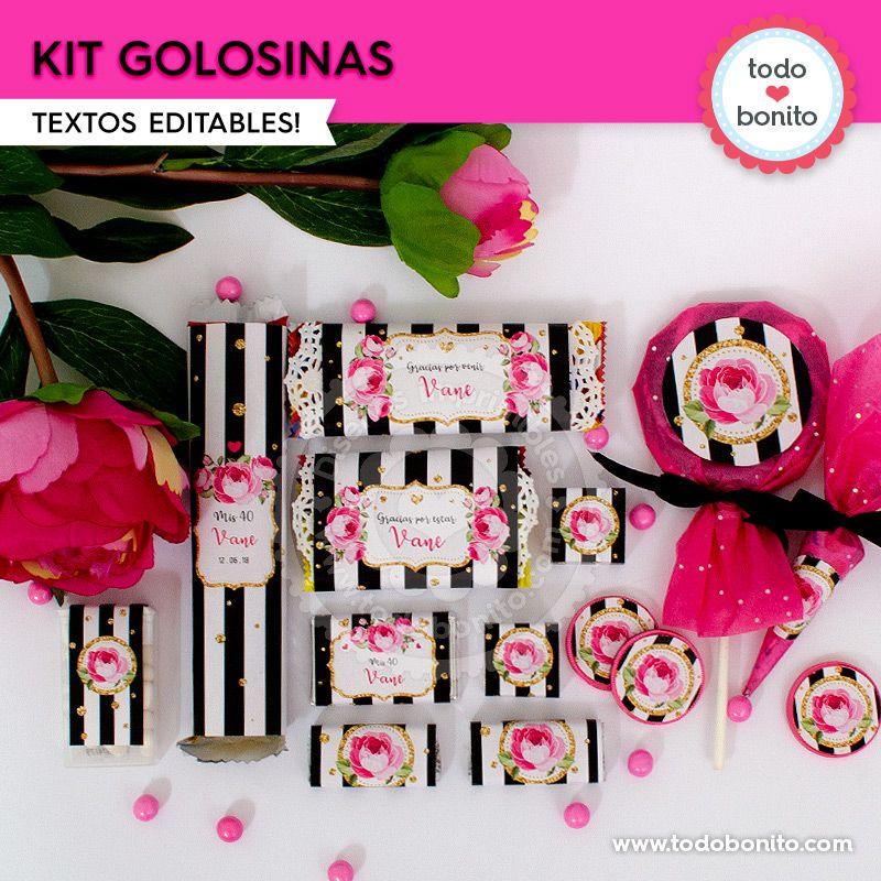 Kit imprimible golosinas flores y rayas por Todo Bonito