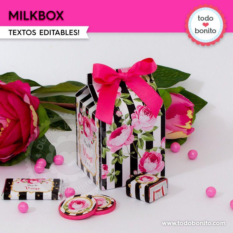 Milkbox imprimible flores y rayas por Todo Bonito