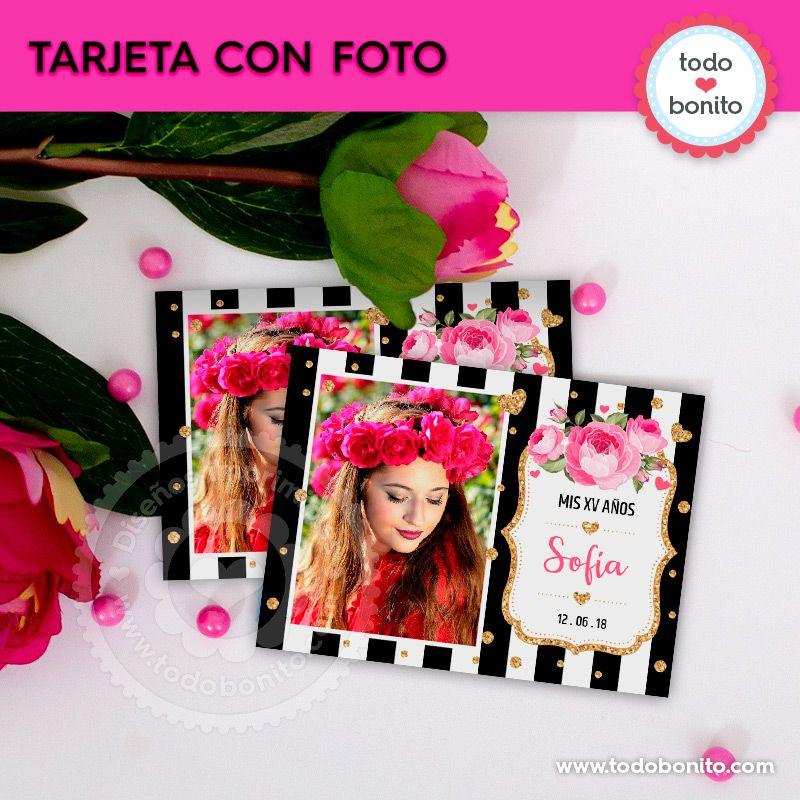 Tarjetas con foto para imprimir flores y rayas por Todo Bonito