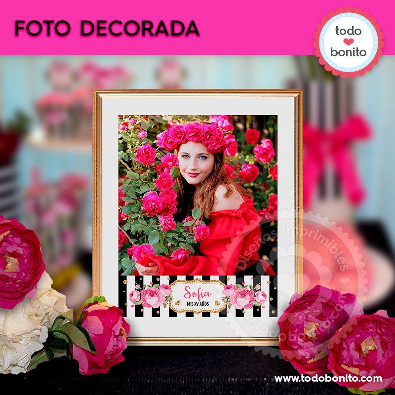 Foto decorada para imprimir flores y rayas por Todo Bonito