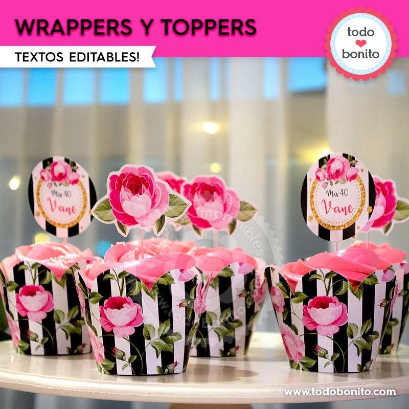 Wrappers y toppers para imprimir con rayas y flores