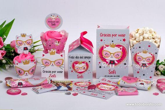 Gatita princesa cool para imprimir, decorar y regalar