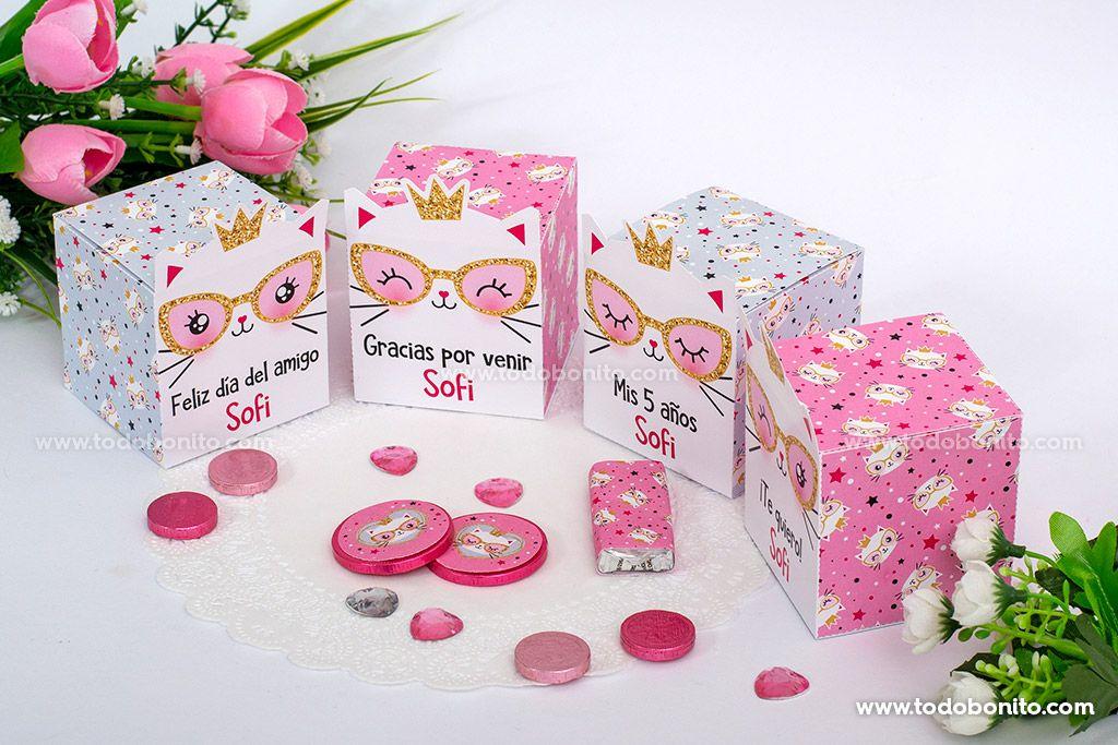 Cajitas de Gatita princesa cool para imprimir