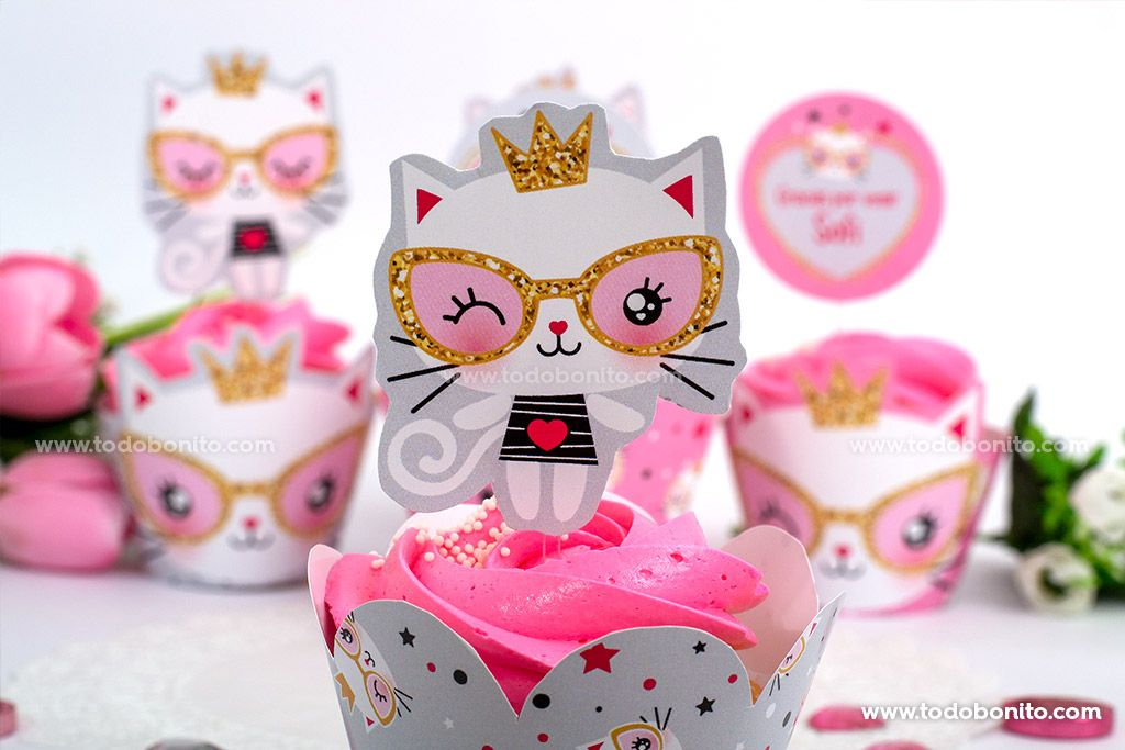 Cupcakes Gatita princesa cool para imprimir por Todo Bonito