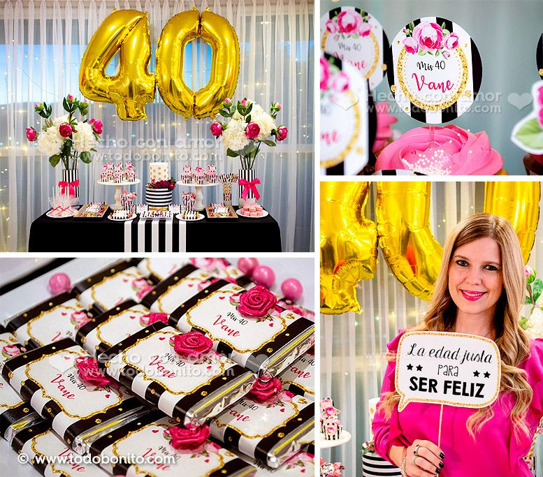 Kits imprimibles fiesta de 40 años por Todo Bonito