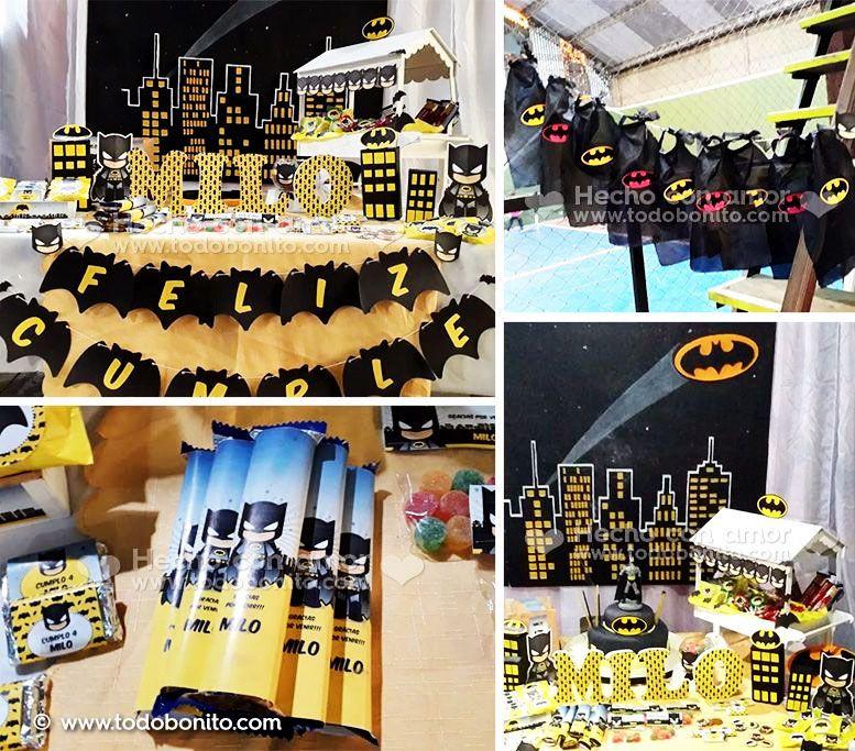Decoraciones de cumpleaños para imprimir de Batman por Todo Bonito