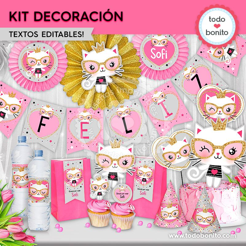 "Kit imprimible ""Gatita princesa cool"" por Todo Bonito"