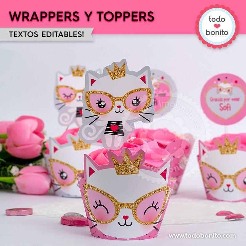 Wrappers y toppers de cupcakes Gatita princesa cool para imprimir
