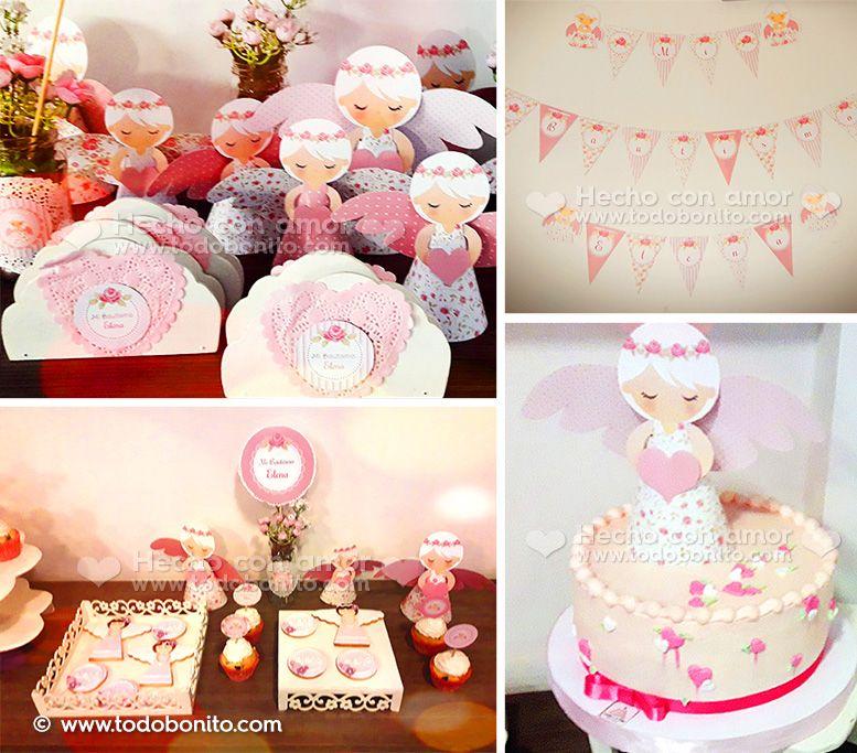 Bautismo decorado con diseño Shabby Chic rosa de Todo Bonito
