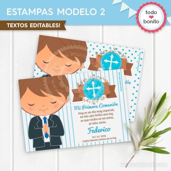 Estampa Versión 2 imprimible Comunión de niñode Todo Bonito