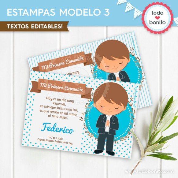 Estampa N°3 imprimible Comunión de niñode Todo Bonito