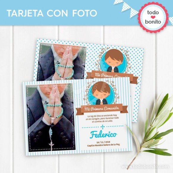 Tarjeta con Foto imprimible Comunión de niñode Todo Bonito