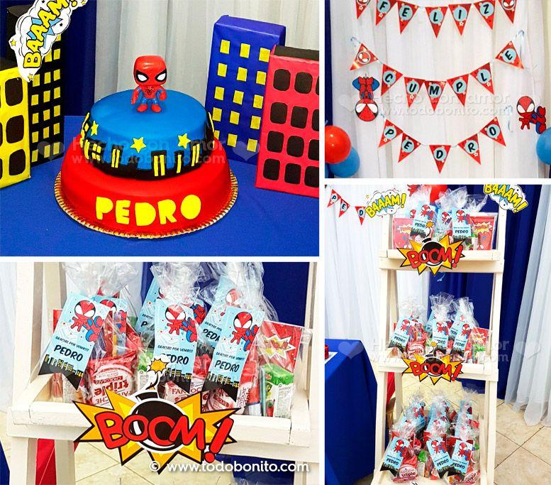 Diseño y decoraciones imprimibles del Hombre Araña version Todo Bonito