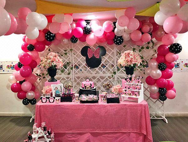 Decoraciones cumpleaños kit imprimible Minnie rosa