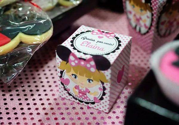 Cajas cubo imprimibles para cumpleaños kit orejas de minnie rosa