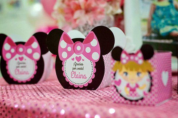 Cajitas con forma imprimibles para cumpleaños kit orejas de minnie rosa