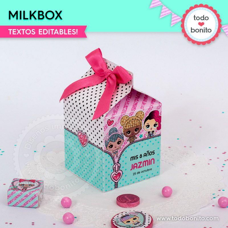 Milkbox imprimible de LOL de nena