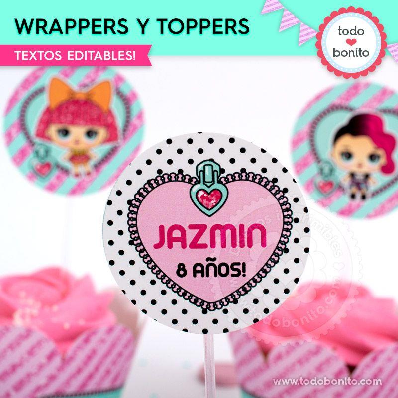 Wrappers y toppers imprimibles de la temática LOL