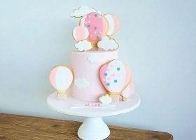 Tortas de globos aerostáticos en rosa