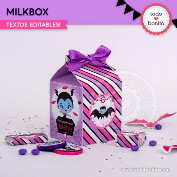 Milkbox imprimibles con la temática de Vampirina