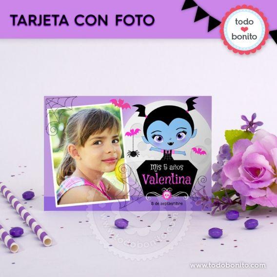 Tarjeta con foto personalizada para imprimir de Vampirina